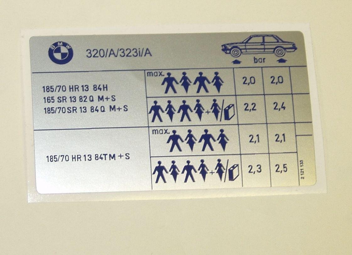 BMW e30 325i//A//325i//A cabrio  reifendruck aufkleber